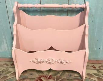 Vintage pink magazine rack shabby chic roses