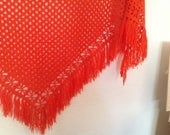 Crochet, soft cotton, fine lace, tangerine color shawl, triangle with 3.5 inches fringe, sooooooo beautiful, new