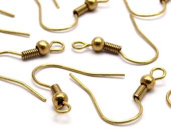 Brass Earring Hook, 100 Raw Brass Ear Wires, Earring Findings (18mm) Bs 1361