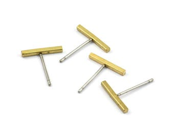 Rectangle Bar Stud, 24 Stainless Steel Earring Posts With Raw Brass Flat Bar Stud, Ear Studs (12x14mm) BS 1704