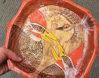 Woodpecker, pileated, handpainted, sgraffito carved, one of a kind