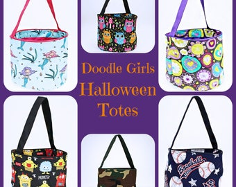 NEW patterned Halloween OR Easter Bucket with personalization.  Monogrammed Easter Tote.  Personalized Halloween Tote Bag.
