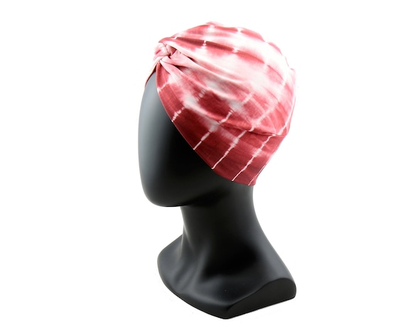 Turban Hat Pink Tie Dye Shibori Print Hair Snood Chemo Cap Hair Covering Skullcap Full Turban Retro Accessory Stretch Turban Tichel