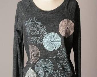 SUMMER SALE women's pullover sweatshirt, women's sweatshirt, sea urchins, coral, ocean inspired