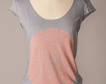 SUMMER SALE womens flower tshirt, womens tshirt, gray tshirt, coral-and-gray, gray-and-coral, coral ranunculus flower