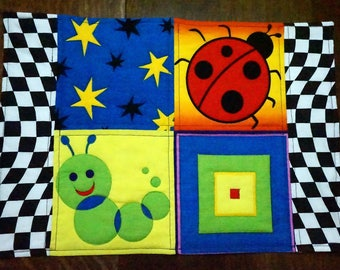 OOAK Quilted Bugs Place Mat for Children, Kids, Toddlers, Tweens or Adults
