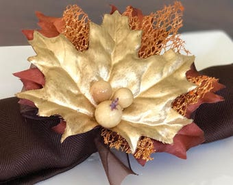 Napkin Ring with Autumn Leaves and Copper Lacy Leaf - Fall - Thanksgiving -Autumn