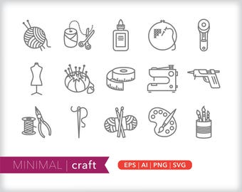 Minimal craft line icons | EPS AI PNG | Geometric Hobby Clipart Design Elements Digital Download