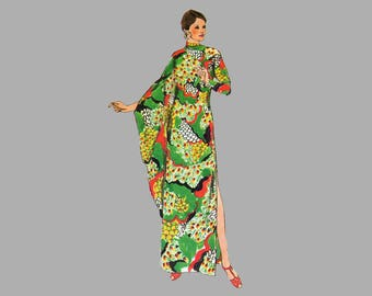 Simplicity 5971 Caftan Dress Sewing pattern Bust 34 - 36 Cowl neckline Floor length evening gown Long kimono sleeves Thigh length left slit