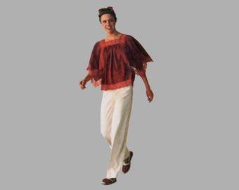 Misses Pullover Tops pattern Simplicity 7569 Jiffy sew Bust 34 - 36 Handkerchief top Raglan sleeve top Portrait neck UNCUT