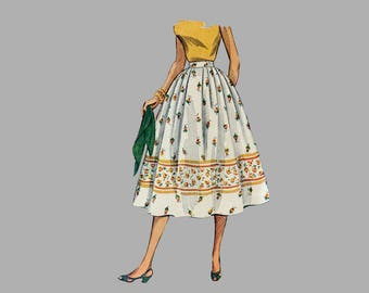 "1957 Misses Skirt Pattern Simplicity 4648 Waist 27 inches ""Simple to Make"" Full pleated skirt Waistband Back center zipper Complete"
