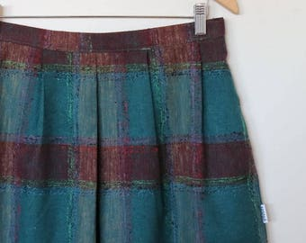 checks in wine and teal...vintage fabric pleated skirt with side seam pockets