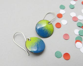 Green and Blue Earrings - Blue Green Earrings - Small Blue Enamel Earrings - Lime Green Enamel Earrings