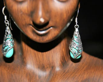 Earrings Southwestern ,Native American   Sterling Silver floral  with Turquoise stones  -just   Stunning