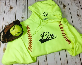 Youth Unisex NuBlend Jerzees Brand Softball Hoodie Pullover Girls Teen Customized with Name and Number