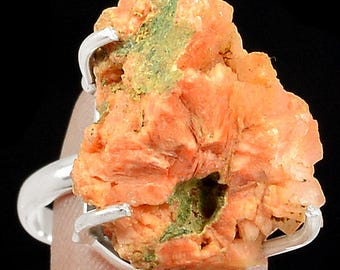 Chabazite Orange Crystal Sterling Silver Ring Jewelry Size 8