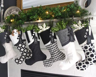 Polar Eclipse Christmas Stockings - Black and White Polar Attraction