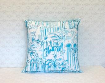 Preppy Lilly Pulitzer La Via Loca Toile Fabric Pillow Cover 16x16
