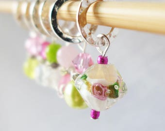 LAST SET - Heart of a Rose - Six Handmade Stitch Markers - 6.5 mm (10.5 US) - Limited Edition