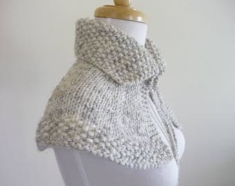 Knit Collar Cape Shoulder Wrap Mini Cape Highlands Capelet Shawlette In Wheat Ready to Ship