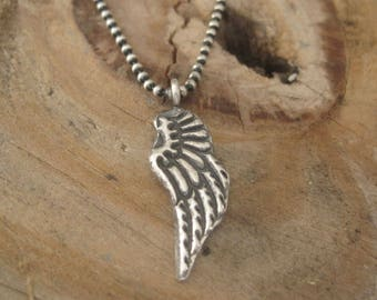 Angel Wing Necklace, Remembrance Necklace, Fine Silver Necklace, Silver Wing Necklace