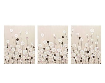 ON SALE Pink Brown Nursery Art Decor for Baby Girl - Textured Acrylic Flower Painting on Canvas Triptych - Large 50x20