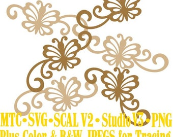 Butterfly 1 Flourish Set #05 Spring Cut Files MTC SVG SCAL and more Digital File Formats