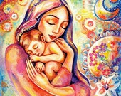 Mother child painting, mother art, mothers love, nursery wall art, Mother gift, beauty painting, mother son, feminine decor print 8x10+