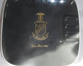 PanHel Panhellanic Fraternity Ashtray Balfour Sorority Go Greek Mid Century 1960s 60 Vintage Class of 1961 Father's Day Gift