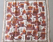Vintage Handkerchief, Tammis Keefe Hankie, Asian Temple Images, Temple and Dancers, Brown and Gold Hankie, Midcentury Accessory, Designer