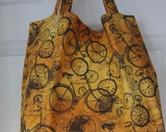 Market Bag, Bicycle, Cycle, Foodie, Subway Bag, Grocery Bag, 100s Fabric Choices