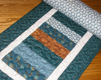 Quilted Table Runner, Stacked Coins in Teal and Brown,  13 x 39  inches