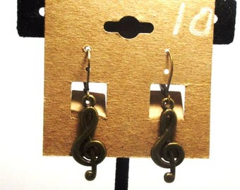 Oxidized Brass Musical Note Treble Cleft  Steampunk Style Charm Drop Earrings
