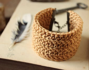 Ginger Root. Bohemian Rustic Hand Crocheted Wide Cuff Bracelet with Muscovite Accent.