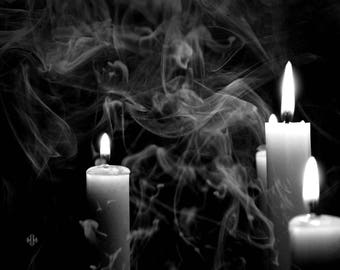 "Still Life Photography, Black and White, Candle, Candlelight, Smoke, 8x10. ""Light Play, No.2"""