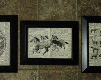 "Horses on Vintage Dictionary Page Prints - Set of 3 - 5"" x 7"""