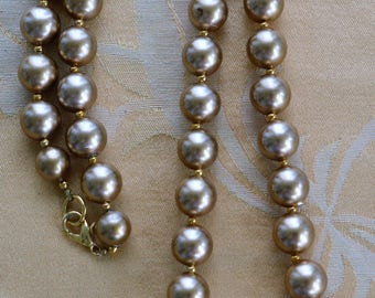 """Gold 14mm Faux Pearl Beaded Necklace, Vintage, 30"""" (X9)"""