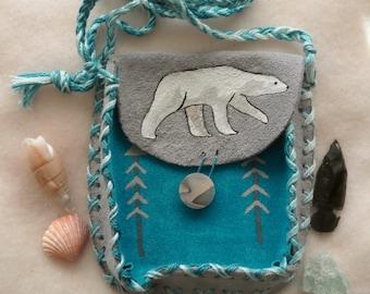 King of the North Polar Bear Medicine Bag, Suede Shaman Bag