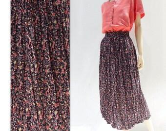 Floral Midi Skirt 90s Midi Skirt Black Floral Skirt 90s Floral Skirt Grunge Floral Skirt Pink Floral Skirt 90s Vintage Skirt xs to s