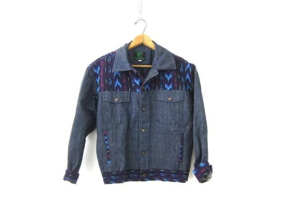 Ethnic Jean Jacket Boho Chic Guatemalan Coat Bohemian Festival Jacket Woven IKAT Patches Tribal Pattern Print Women's size Medium large