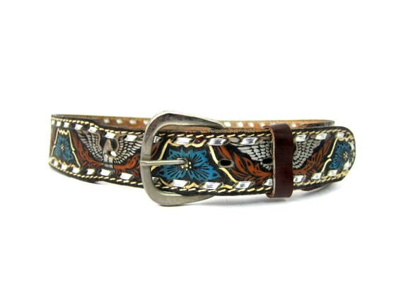 Brown Tooled Leather Belt Western Silver Eagle Flowers and Birds Belt Floral Cowgirl PEGGY Belt Women's belt GS Size Small Medium