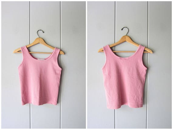 80s Basic Tank Top Minimal Pink Crop Top Simple Sporty Tank Vintage 90s Sleeveless Textured Cotton Casual Tank Top Womens Small