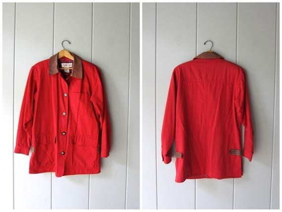 Vintage Red Barn Coat 90s Womens Chore Jacket Ranch Coat Fall Cotton Trench Coat Plaid Lining Preppy Work Coat Large Pockets Womens XS