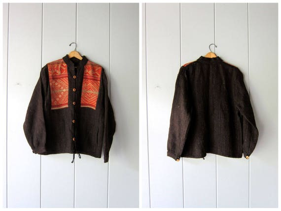 Guatemalan Sweater Coat Thick Brown Woven Wool Jacket Hand Woven Ethnic Stitched Embroidered Tribal Wool Sweater Coat w/ Pockets Large XL