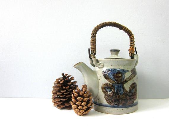 Stoneware small Teapot Vintage Gray 1970s Earthy Kitchen Decor Modern Ceramic Pottery Kettle Ranch Home Serving Tea OMC Otagari Pot GS