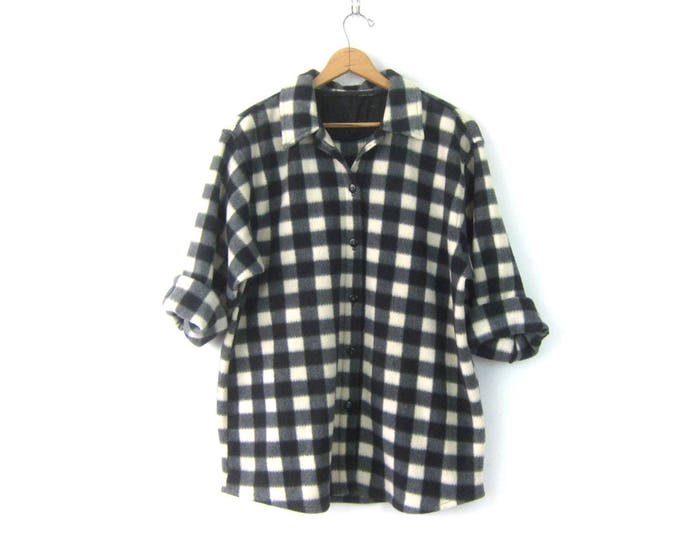 Black and White Fleece Shirt Oversized Long Shirt Jacket Buffalo Check Blanket Coat Button Up Slouchy Sweater Hunting Shirt Womens XL XXL