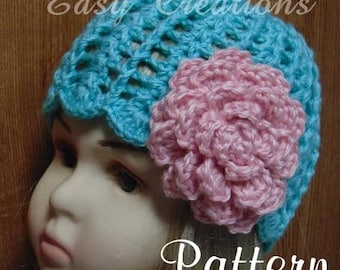 CROCHET PATTERN, Spring and Summer Sun Hat optional flower ribbon lacy cloche child preemie baby toddler, Intermediate Skill Level