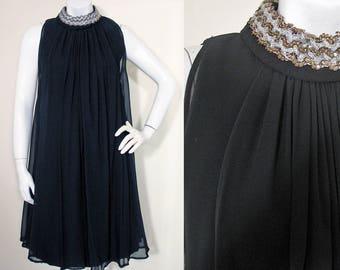 Vintage 1960s Black Chiffon Over Crepe Cocktail Mod Mini Dress  SZ S