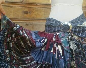 The window lady signature gypsy necktie bustle ruffle skirt handmade ooak festival burningman Gothic punk lolita mori patchwork designer