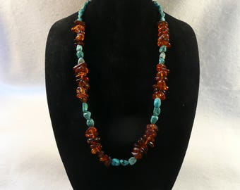Amber and Turquoise Nugget Necklace   #117